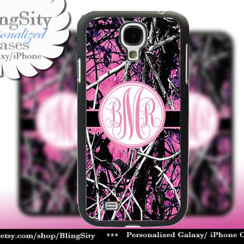Camo Pink Monogram Galaxy S4 case S5 RealTree Muddy Camo Personalized Samsung Galaxy S3 Case Note 2 3 Cover Country Girl