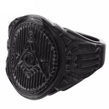 Black Plated Masonic Ring [& Gold/Silver]