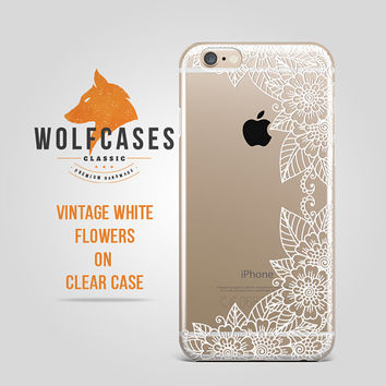 Vintage Flowers White Pattern One Side Contour Ultra Thin Clear Case Cover for iPhone 6 6s Plus Samsung S4 Galaxy S5 S6 Note iPod 079