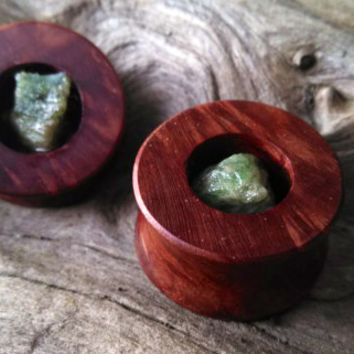 Green tsavorite garnet and manzanita plugs--Item #128