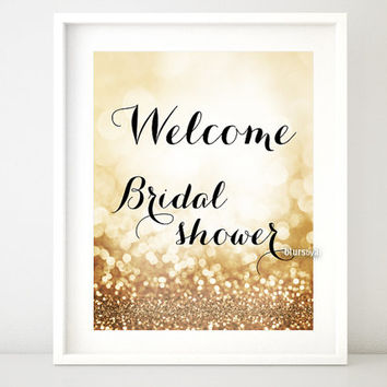 Bridal shower & Welcome - Bridal Shower printable signs. Rose gold party decor, gold welcome sign, party welcome sign -gp163 Olivia