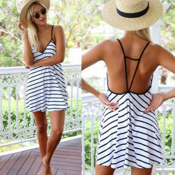 ☀ Happiness is a day at the Beach ☀ New Fashion Trendy Sexy Women Sleeveless Short Mini Dress