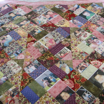 Photo Memory Quilt DEPOSIT ONLY Custom Made - Your Photos and My Fresh Fabrics - Birthdays Moms Dads Grandparents Anniversaries Graduations