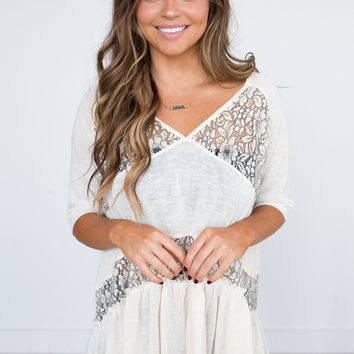 V-Neck Lace Panel Ruffle Top - Cream
