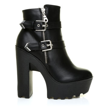 GRACE Black PU Leather Chunky Platform Cleated Sole Zip Buckle Ankle Boots
