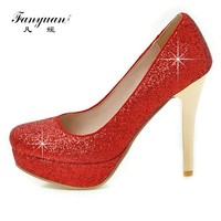 Fanyuan Luxury Glitter Thin Heels Women Pumps Elegant Platform High Heels Women Wedding Shoes Ladies Evening Party Shoes