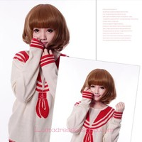 Lolita Khaki Neat Bang Maid Cute Cosplay Wig
