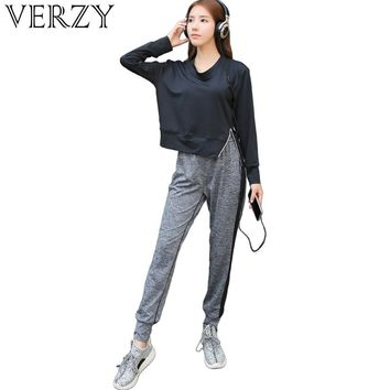 VERZY women 3 pieces yoga set Sports bra+hoodie with zipper+loose pants solid plus size outdoor gym clothes running sportswear