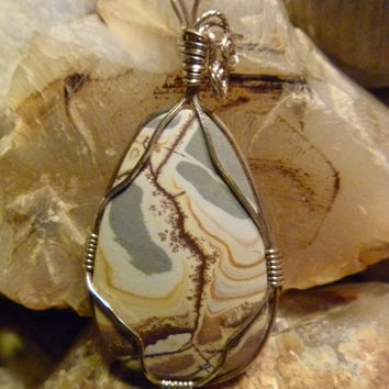 Wire wrapped Sonoran Dendritic Rhyolite Pendant