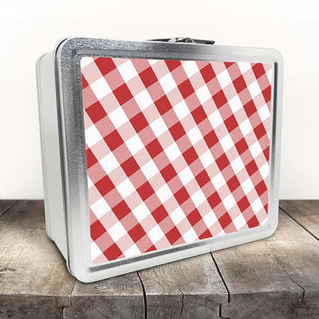 Red Gingham Lunch Box - Pattern in Red and White on both sides - Tin School Lunch Art Craft Supplies Box - Chalkboard inside the Lid
