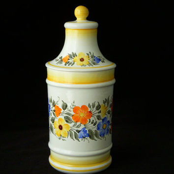 Unique Mexico Pottery Lidded Apothecary Jar, Yellow Canister, Sta Ma Cuernavaca
