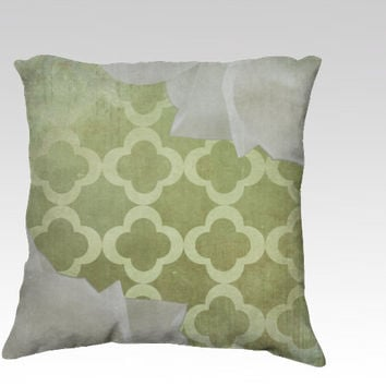 Magnolia & Clover  - Throw Pillow - green, classic, distressed, rustic, cottage, chic, style, pattern, white, decor, sofa, photography