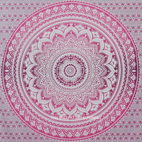 Pink Ombre Mandala Cotton Wall Tapestry Bedding on RoyalFurnish.com