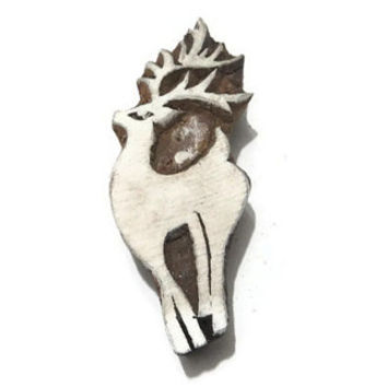 Deer Stamp Handcarved Indian Wooden Printing Block Art Pottery Stamp textile Printing Wood Art-Size 4*1.5*1 inch-Price for 01 Block-MNP22