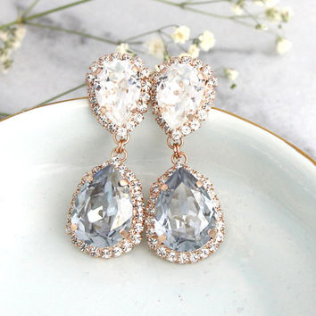 Dusty Blue Earrings, Bridal Dusty Blue Earrings, Blue Chandeliers Earrings, Dusty Blue Crystal Swarovski Earrings, Bridal Drop Earrings