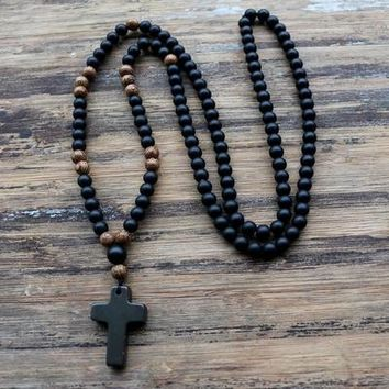 6MM Black stone Wood Beads with black stone cross Pendant Mens Rosary Necklace Mens Mala jewelry