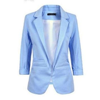 New Hot Women Casual Slim Suit Blazer Jacket Coat 3/4 Sleeve Outwear Business Blazer