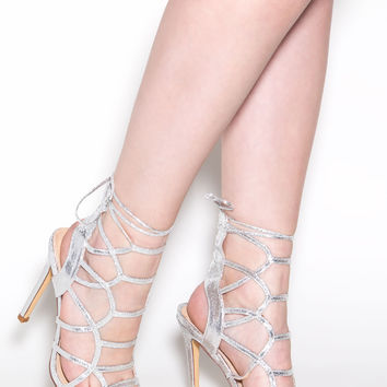 Backstage Pass Caged Metallic Heels