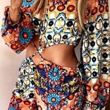 Printed Criss-Cross Long Sleeve Romper