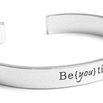Inspirational Silver Cuff Bracelet ndash Stamped quotBe you Tifulrdquo Jewelry for Women Teens Girls ndash Motivational Quotes Mantra Band Bracelets ndash Perfect Gift