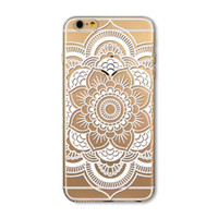 Simple transparent mandala mobile phone case for iphone 7 5 5s SE 6 6s 6 plus 6s plus + Nice gift box