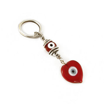 Evil eye keychain, heart Keychain, red glass heart eye charm, evil eye keyring, red glass eye beads, evil Eye accessories