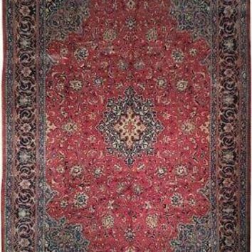 Excellent Pre-Owned Wool Persian Handmade Rug 10' x 14' Red Traditional Rug