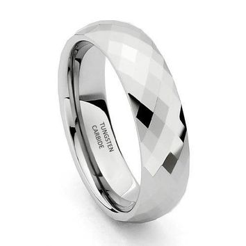 6mm Faceted Tungsten Wedding Band (Platinum)