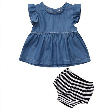 Baby Girls clothing Cowboy Color Tunic Dress + striped shorts bottom Kids outfits summer baby girl sets 0-24M