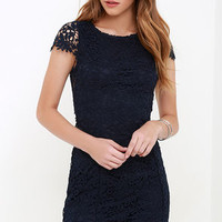 Hidden Talent Backless Navy Blue Lace Dress