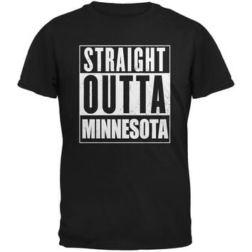 Straight Outta Minnesota Black Adult T-Shirt
