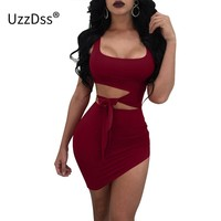 Dress Sleeveless Square Collar Bodycon Bandage Dress Bow Hollow Out Summer Black White Red Night Club Dresses