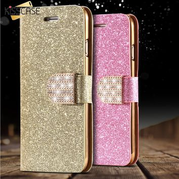 KISSCASE For iPhone 5S Leather Case Gold Luxury Bling Diamond Gold Stand Flip Case For iPhone 5 5S SE Wallet Card Slot Cover Bag