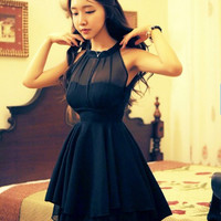 Free Shipping High Quality 2014 New Arrival  Off Shoulder Irregular Backless Collect Waist Chiffon Formal Dress Black/Rose-0412