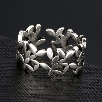LMFONPR Retro Silver S925 Leaf Branch Openable Ring