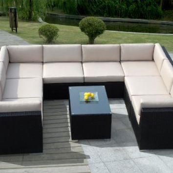 Genuine Ohana Outdoor Sofa Patio Wicker Furniture 9pc All Weather Couch Set with Free Patio Cover