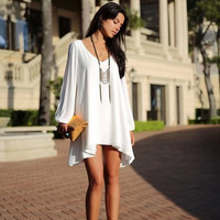 Summer Casual Chiffon Dress - White