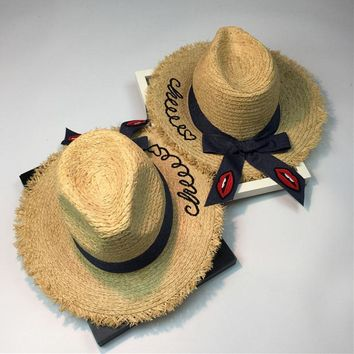 Embroidery Letter Women Wide Brim Natural Raffia Straw Hats Denim Red Lips Bow Large Beach Hats For Lady Summer Sun Hat Caps