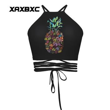 XAXBXC 027 Summer Sexy Girl Vest Tank Colorized Patchwork Pineapple Prints Slim Fitness Cross Bandage Strap Women Cropped Tops