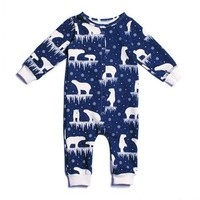 Winter Water Factory Midnight Polar Bear Jumpsuit - Organic French Terry