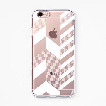 iPhone Case - 'Chevron Stripe' - iPhone 6s case, iPhone 6 case, iPhone 6+ case - Clear Flexible Rubber TPU case J31