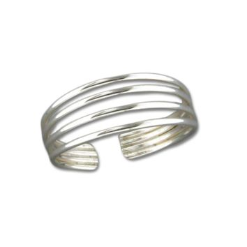 Four Strand Adjustable Toe Ring - Sterling Silver