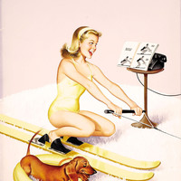 Pin-Up Girl Wall Decal Poster Sticker - Calling All Girls, July, 1961 - Blonde Pinup Pin Up