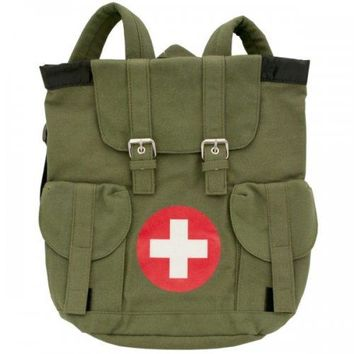 Olive Green Canvas Medic Theme Backpack