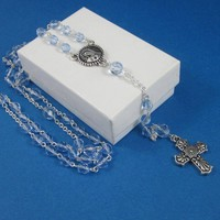 Rosary Necklace Light Blue Crystal Beads Textured Cross Virgin Mary