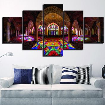 5 Panels Islam Building Posters Canvas Painting Poster Prints Framed Wall Art Home Decor For Living Room