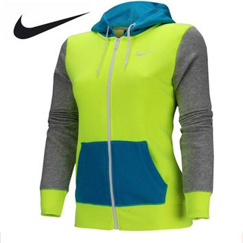 Nike Original Female Women Hoodie Jacket Chris Breathable Jacket Green Blue and Grey 638284-702