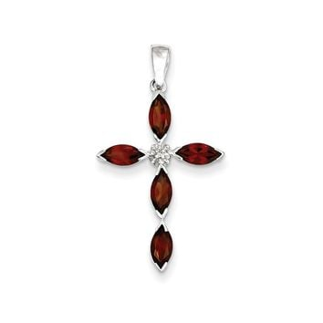 Sterling Silver Rhodium Garnet & Diamond Cross Pendant
