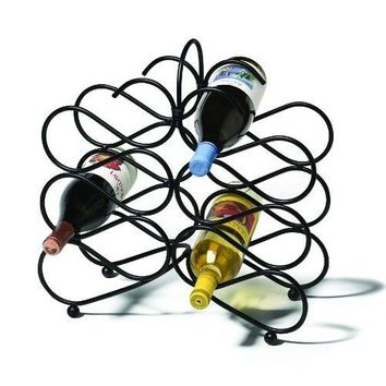 Scrolling Downward Angle Wine Rack in Black