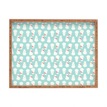 Allyson Johnson Cute Snowmen Rectangular Tray